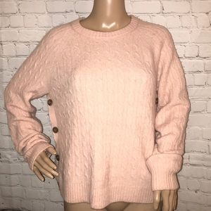 J. Crew chunky knit sweater Side buttons pink M